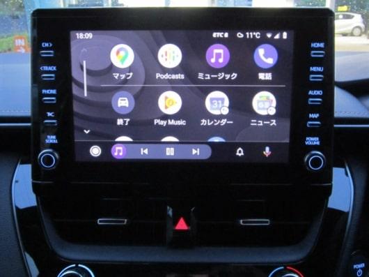 カローラ純正ディスプレイオーディオ  Android Auto起動時メイン画面